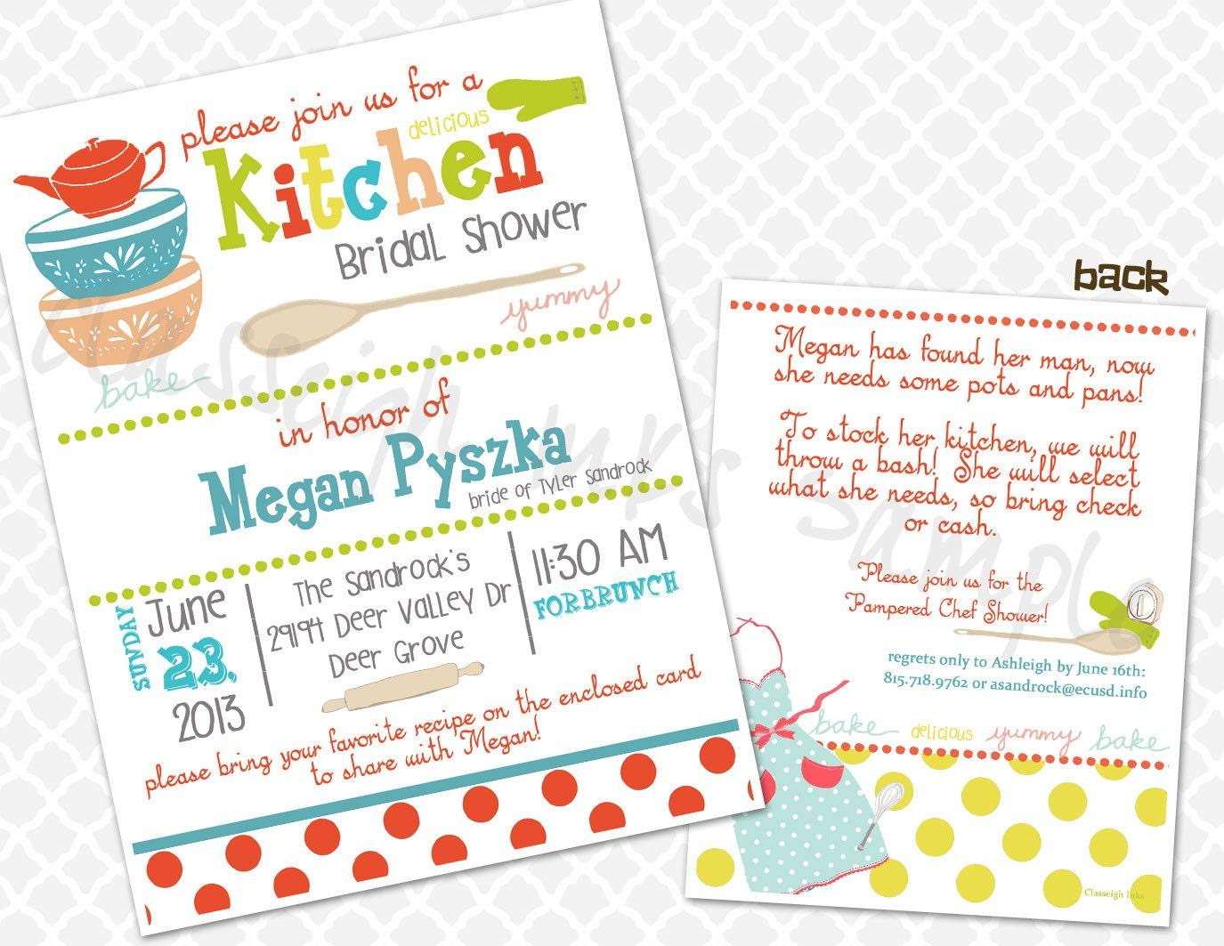 Pampered Chef Kitchen Recipe Bridal Shower Invitation Bridal
