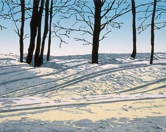 Morning Light  Woodblock print