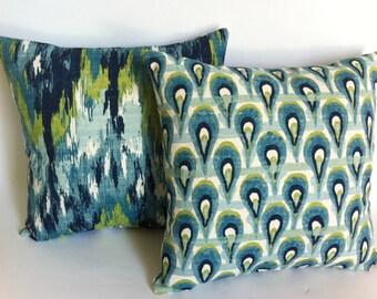 One Decorative Throw Zipper Pillow Cover Aqua Blue Ikat Print 20x20 Inch Navy Turquoise Aqua Lime Pillow cushion cover 22x22 26x26-BU6G