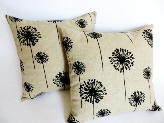 Decorative Pillow Covers With Zippers : Set of 2 Decorative Throw Zipper Pillow Covers Black Dandelions on Beige 18 x 18 Inches Beige ...