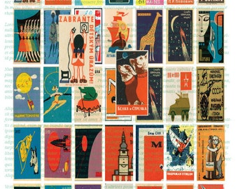 RUSSIAN Vintage Matchbook Art 1x2 instant download Domino Sized digital print out sheet for craft projects.