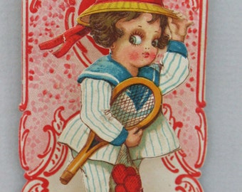 Antique Valentine Card Valentines Card TENNIS Germany I Love You Greeting Cards