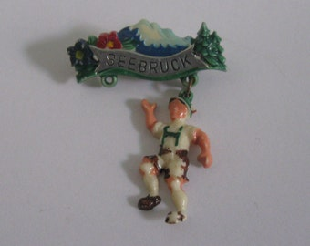 Seebruck (Bavaria, Germany). Age old souvenir pin (probably 50s). VINTAGE