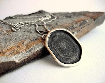 GEOMETRIC MINIMAL PENDANT , oxidized pendant , abstract necklace , black pendant , black gothic pendant , minimal pendant.