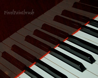 DIGITAL DOWNLOAD, Piano Keys, Music Image, Reflection on Wood, Black, White, Brown Photo, stock photo available in print