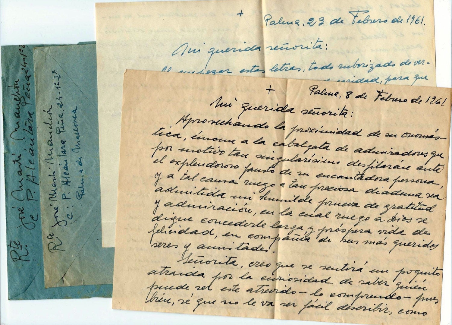 Vintage Love Letters And Envelopes From Spain Handwritten