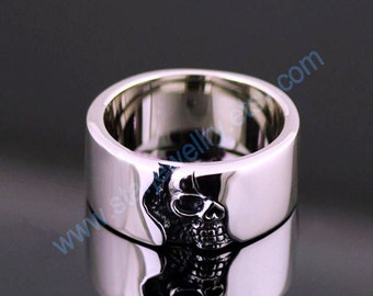 Steampunk  The punisher half skull face ring---925sterling silver ring