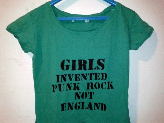 items similar to girls invented punk rock not england hand painted shirt made to order on etsy. Black Bedroom Furniture Sets. Home Design Ideas