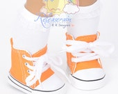 "Cons Canvas Lace-Up Sneakers Boots Doll Shoes Orange for 18"" American Girl dolls"