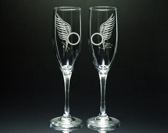 Wedding Flutes - Battlestar Galactica - Starbuck and Sam Anders Tattoo - Etched Glass Flute Set