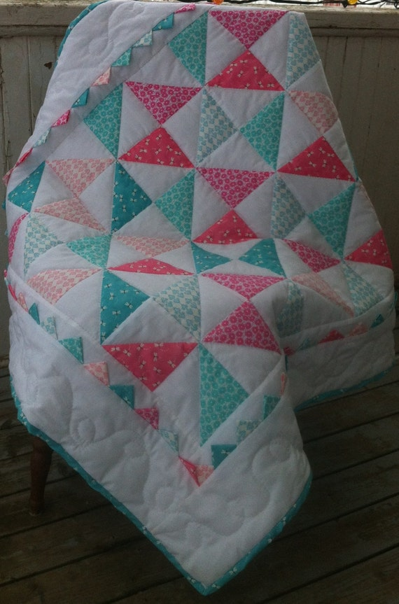 Crib Quilt Blanket Baby Girl Hand Quilted Aqua by FarmGirlDesign