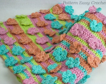 Baby blanket floral crochet pattern - instant download