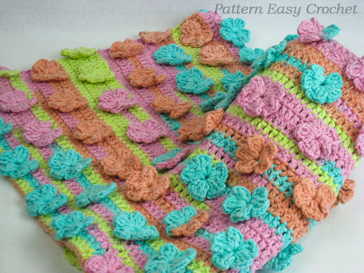 Crochet Baby Blanket Patterns To Download : Baby blanket floral crochet pattern instant download