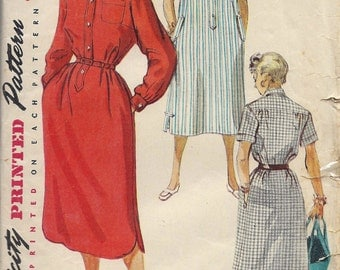 1950s Misses Chemise Dress Pattern, Simplicity 4761, Size 14, Bust 32