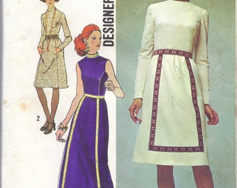 1970s Misses' Dress in Two Lengths Designer Fashion Pattern, Simplicity 9606, Size 10, Bust 32.5