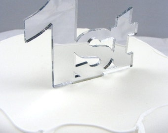 "Celebration Age Silver Mirror Cake Toppers 6cm/2.5"" 10cm inc spike  - All Ages"