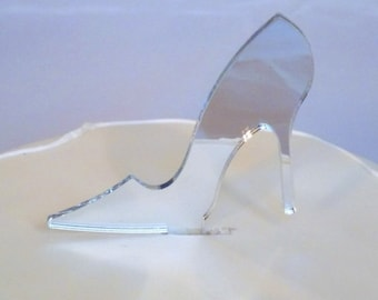 High Heel Shoe Cake Topper in Silver Mirror Acrylic - 10cm / 4""