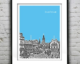 Dumfries Poster Dumfriesshire Scotland United Kingdom Art Print Skyline