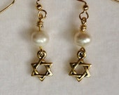 Gold Star of David Earrings with White Freshwater Pearls