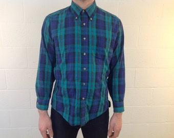 """L/S Turquoise & Navy Blue plaid by """"GV Sport"""" - large"""