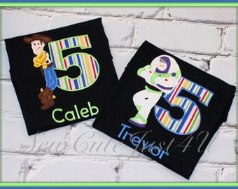 Toy Story- Buzz or Woody Birthday Personalized Number Shirt