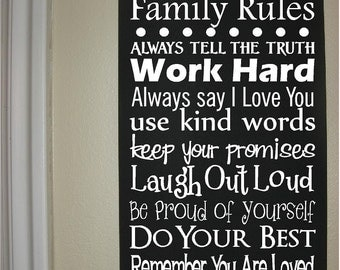 Custom Personalized Wooden sign-Family Rules Subway Art