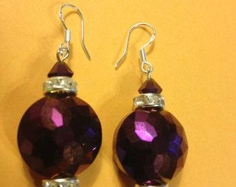 Purple crystal earrings - swarovsky Crystal earrings - Earrings - Wedding Earrings