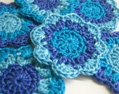 Crocheted Flower appliques round motifs in blue shades 2 inches wide set of 6