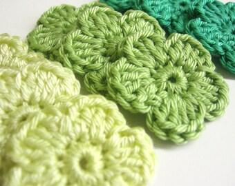 Handmade crocheted cotton flower appliques set of nine green shades