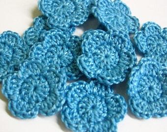 Tiny handmade crocheted cotton flower appliques set of twelve  light blue one inch
