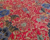 RESERVED Red Cotton Fabric with batik floral ornament, golden ocher, deep blue, red, fabric for clothing, home decor, handbags