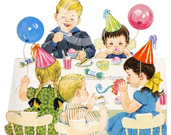 """Vintage  """" Kids Birthday Party w Ballloons"""" Digital Image - (VC3) Print for Crafting, Fabric Transfers - INSTANT Download"""