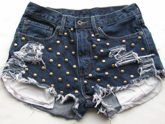 "High Waist Shorts Levi's Denim Jean Sz. 29"" W Studded Distressed Cut Off Women's"