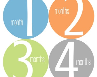 Baby Monthly Stickers, Monthly Stickers, Monthly Baby Stickers - Baby Boy, Baby Shower Gift, Blue, Green, Orange