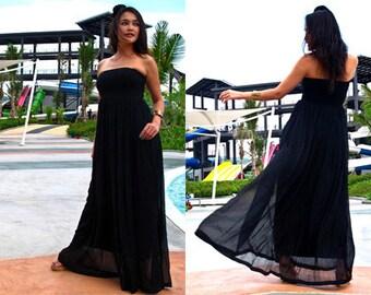 Black strapless beach dress