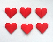 Origami Hearts, Set of 6 Hand Folded Red Paper Love Hearts,  Valentines / Wedding Favor - WideSkyPapercrafts