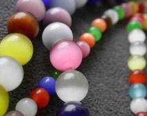 "full strand 50pcs mixed colors Opal Cat Eyes 8mm round Nature quartz stone beads 14"" B11"