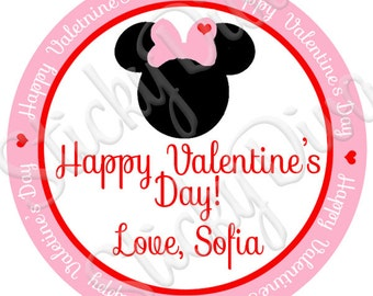 PERSONALIZED VALENTINE STICKERS - Sweet Minnie Inspired - Round Gloss Labels