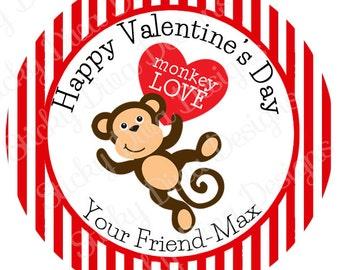 PERSONALIZED VALENTINE STICKERS - Monkey Cutie  - Round Gloss Sticker Labels
