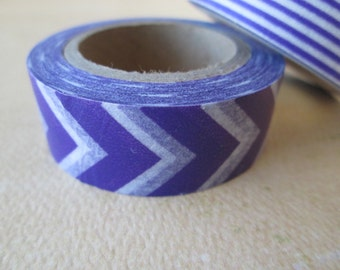 Washi Tape - Double Roll - Purple Chevron with Purple and White Stripes