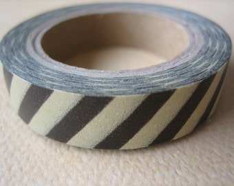 Washi Tape - Single Roll - Brown and Tan Stripes