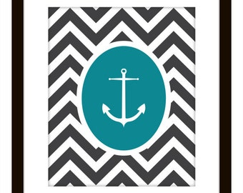 Nautical Chevron Anchor Printable Home Decor Art Print