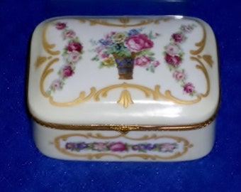 Vintage FBS Hand Painted Porcelain Trinket Box
