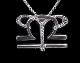 7 Aries and Libra Silver Unity Pendant