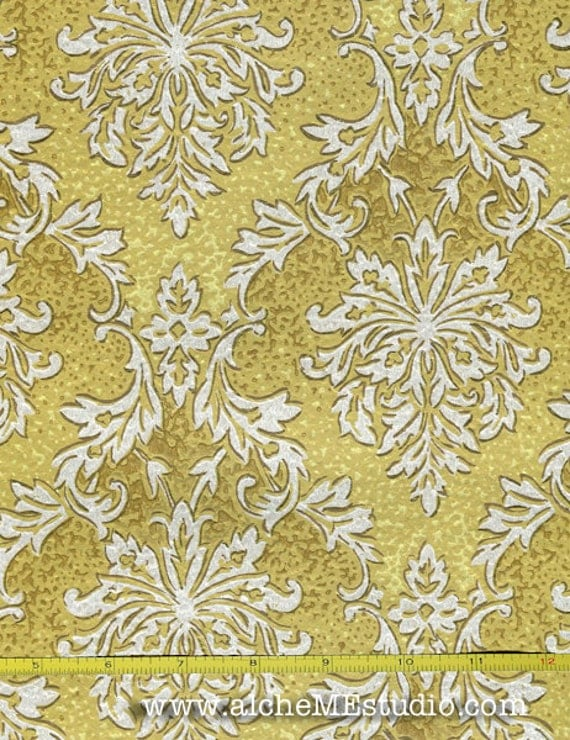 items similar to vintage wallpaper yellow by the yard