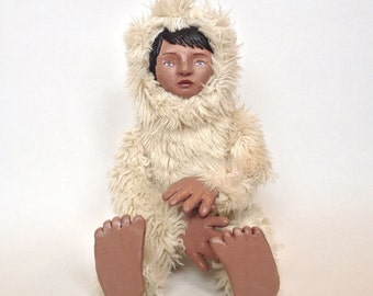 Yeti Girl Cream Furry Art Doll OOAK