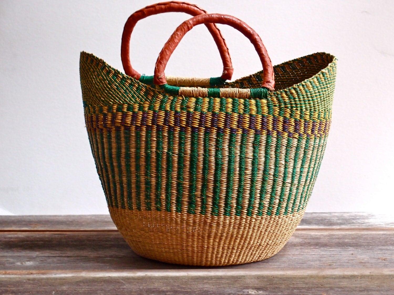 market basket woven market basket w leather handles. Black Bedroom Furniture Sets. Home Design Ideas
