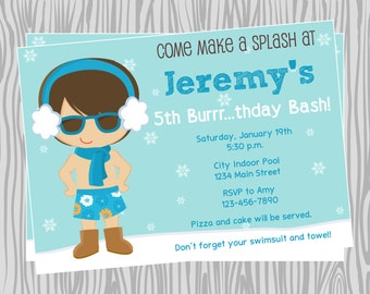 DIY - Boy Winter Pool Birthday Party Invitation - Coordinating Items Available