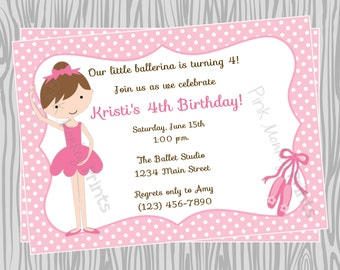 DIY - Girl Ballerina Birthday Party Invitation - Coordinating Items Available