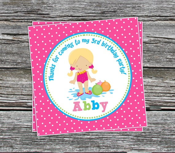 DIY Girl Pool Party And Water Games Birthday Favor Tags